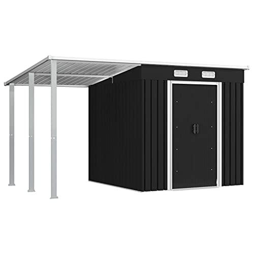 vidaXL Gerätehaus mit Vordach Geräteschuppen Gartenschuppen Werkzeugschuppen Gartenhaus Schuppen Anthrazit 346×193×181 cm Stahl