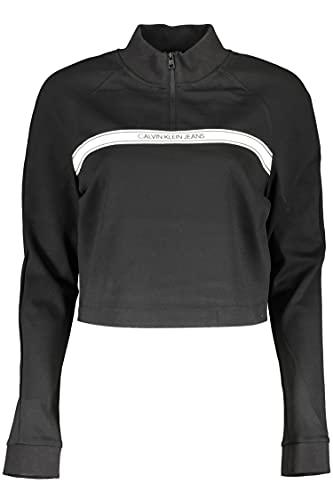 Calvin Klein Logo Tape Milano Mock Neck Zip Suéter, Black, L para Mujer