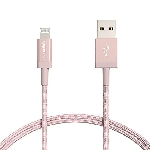 Amazon Basics Cable Lightning a USB-A de nailon trenzado, cargador certificado por MFi, color rojo, 91,2cm+ Cable Lightning a USB-A de nailon trenzado