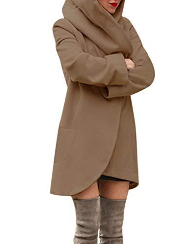 ACHIOOWA Jacke Damen Langarm Revers Oversize Trenchcoat Kurze Stricken Kurze Jacken für Frauen Braun-A01482 S