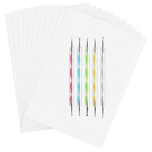 ASTARON 150 Blatt Weiß Kohlepapier Transferpapier, Pauspapier Carbon Papier mit 5 Pcs Präge-Stift-Punktierungswerkzeuge für Stoff Stoff Papier Holz