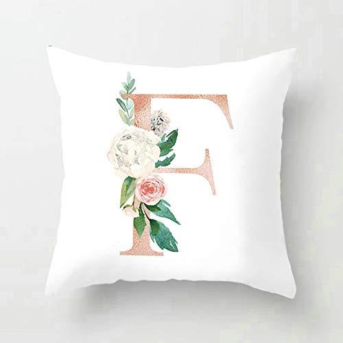 Socoz Fundas de cojín para sofá cuadradas, fundas decorativas de 40 x 40 cm, funda para cojines para sofá letra F con flor estilo 6
