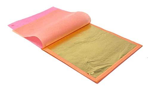 Slofoodgroup 24 Karat Edible Gold Leaf Loose Sheets (10 Sheets Gold Leaf per Book) Gold Leaf Sheet Size 3.15in x 3.15in Loose Leaf Sheets