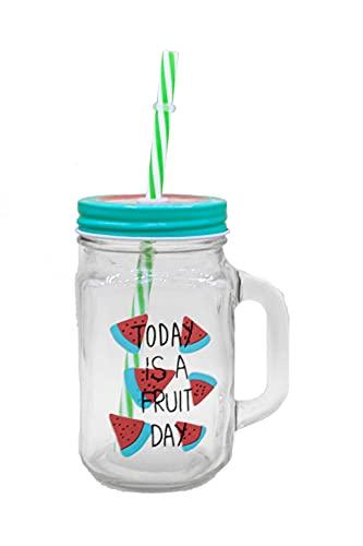 Generico Vaso de cristal con pajita y tapa, para bebidas frías, para el verano, diseño de sandía