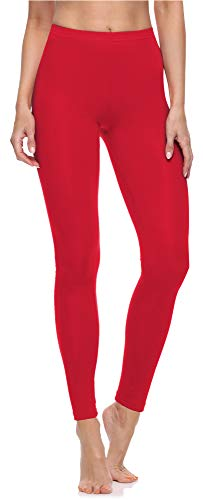 Merry Style Leggings Lunghi Pantaloni Donna MS10-198 (Rosso, M)