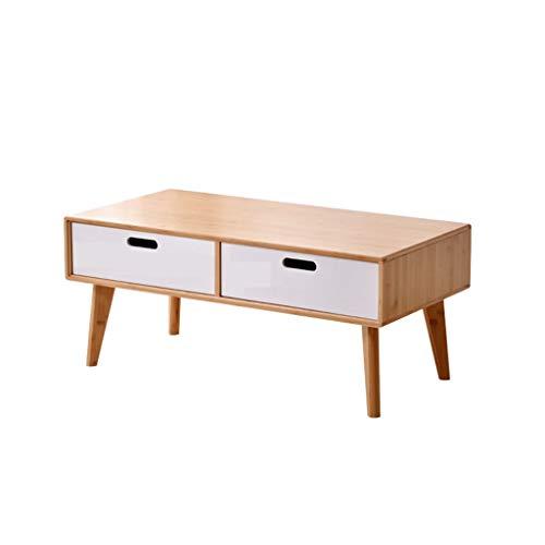 jiji Mesa auxiliar de bambú natural nórdico, creativa con doble cajón para el hogar, mesa firme, patas de salón, sofá, mesa de té (color: blanco, tamaño: 120 x 50 x 43 cm)