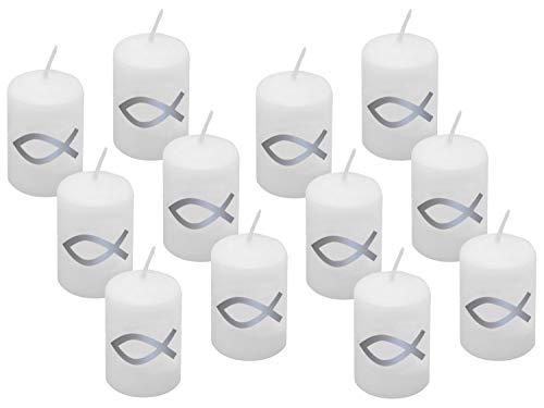 ZauberDeko 12 Kerzen Votiverze Kommunion Tischdeko Konfirmation Fisch Silber