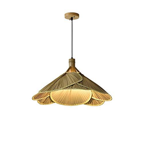 Ventilador de techo de bambú se ilumina Rattan pendiente de la lámpara de la lámpara retro accesorios ligeros de mimbre Cuerpo de iluminación de la lámpara de la lámpara habitación dinging granja pend