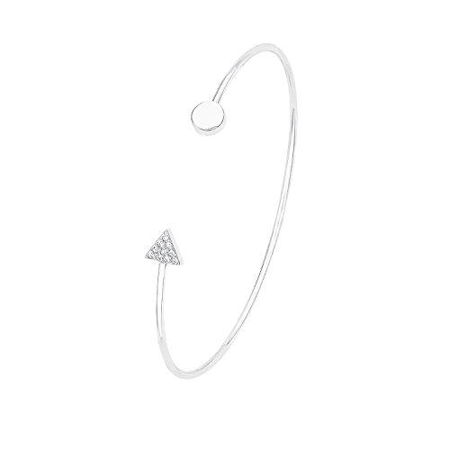 s.Oliver Damen-Armreif Filigran offen 925 Silber rhodiniert Zirkonia weiß 5.8 cm-2012503