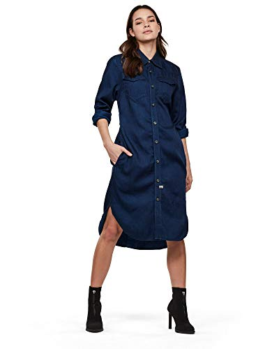 G-STAR RAW Womens Tacoma Long Sleeve Shirt Straight Dress, Rinsed A785-082, Large