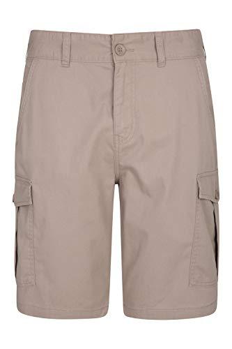 Mountain Warehouse Pantalón Corto Lakeside para Hombre - Pantalón Corto Tipo Cargo Resistente en Sarga de algodón 100%, 6 Bolsillos - para Caminar, Correr Beige 58W