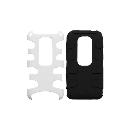 MyBat HTCEVO3DHPCSK051NP Schutzhülle für HTC Evo 3D, 1 Stück, Einzelhandelsverpackung, Elfenbeinfarben/Schwarz