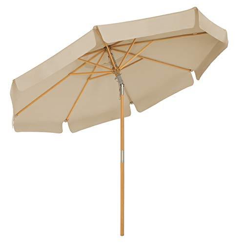 SONGMICS Sonnenschirm 300 cm, achteckiger Gartenschirm, Sonnenschutz bis UPF 50+, Schirmmast und Schirmrippen aus Holz, knickbar, ohne Ständer, Outdoor, Balkon, Terrasse, Taupe GPU32BR