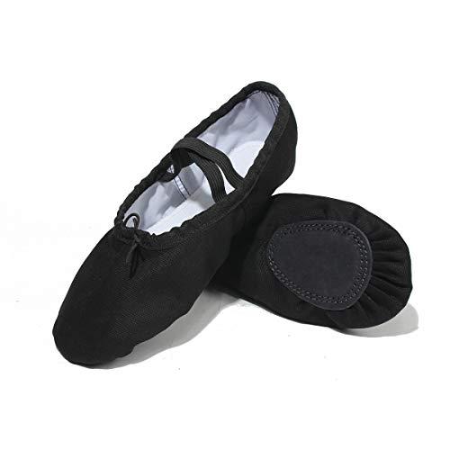 Lily's Locker – Ballettschuhe für Kinder Mädchen und Erwachsene geteilte Sohle klassische Leinen Balletschläppchen Fitness-Gymnastik-Schuhe (schwarz, hellrosa) für Ballettunterricht Yoga und Innenaktivitäten geeignet (Schwarz, 36) - 4