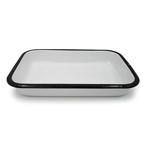 2X Black Rim White Enamel Oven Tray Rectangle Baking Tray Indoor Plant Pot (36cm Rectangle Oven Tray)
