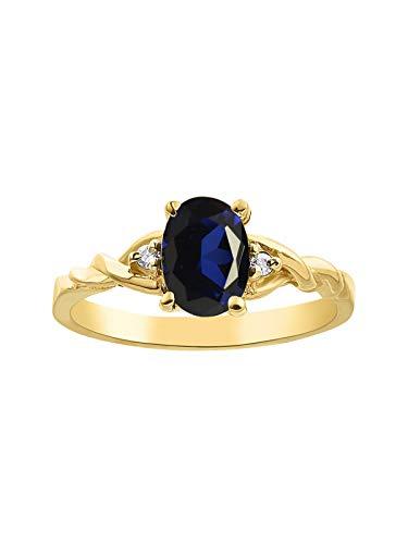 RYLOS Anillo para mujer con piedra preciosa de forma ovalada y diamantes brillantes auténticos en plata chapada en oro amarillo de 14 quilates, 925 – 7 x 5 mm
