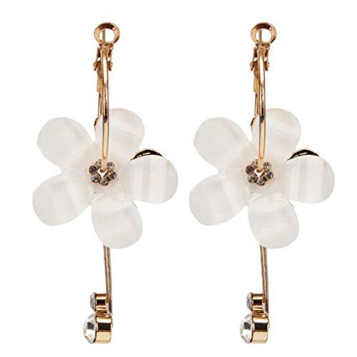 Yesiidor - Pendientes colgantes con borla de diamante para uso diario, con diseño de pétalos geométricos, pendientes de aro con incrustaciones de accesorios de joyería para plantas