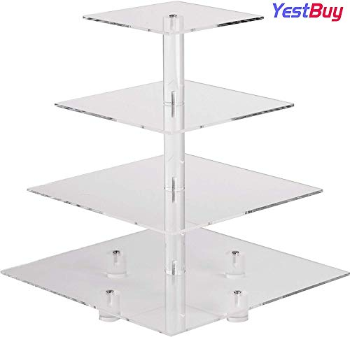 """YestBuy 4 Tier Maypole Square Wedding Party Tree Tower Acrylic Cupcake Display Stand(4 Tier Square with BASE(4"""" between 2 layers) …"""