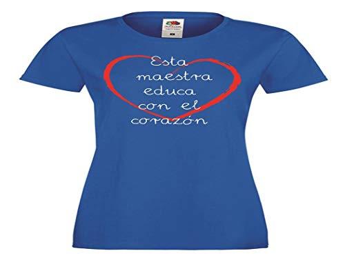 Camisetas divertidas Child Maestra educa con el Corazon - para Mujer Camisetas Talla Medium Color Azul