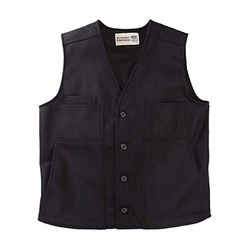 Stormy Kromer Button Vest - Cold Weather Men's Wool Vest Black