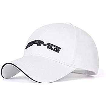 JDclubs AMG Logo Embroidered Adjustable Baseball Caps for Men and Women Hat Travel Cap Car Racing Motor Hat (White)