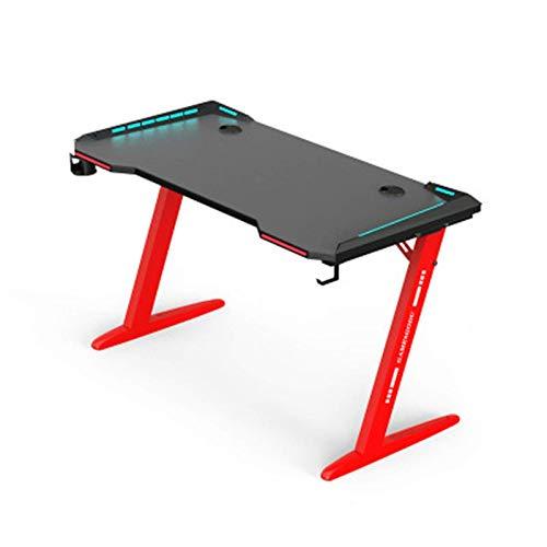 N/Z Tägliche Ausrüstung PC-Spieltisch Spieltisch Desktop-Spieltisch Carbon-Hartlot-Spieltisch mit Lichtern Abnormaler Sporttisch (Farbe: Schwarz Größe: 100 cm)