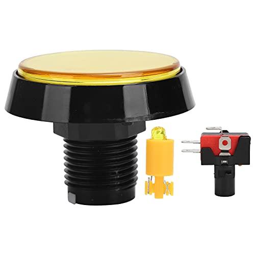 Botón pulsador de 60 mm, Interruptor de 3 pies Botón Redondo Grande para Consola de Juegos Crane Machine, con luz LED, Soporte Giratorio, fácil de Usar.(Amarillo)