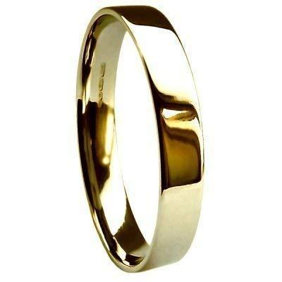 Di alta qualità, in oro giallo 9 k, 3 mm, Extra piatto/fede nuziale comoda, 2,8 g, misura I per P