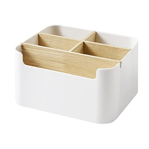 Mengmengda Caja de almacenamiento de escritorio dividida de madera organizador de escritorio Home Pen Control remoto titular dividido organizador de escritorio de madera