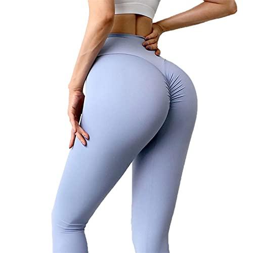 YUDIZWS Push Up Leggings Cortos para Fitness Running Elásticos Y Transpirables Yoga De Alta Cintura Butt Lifter Anti-Cellulite Deportivos Yogapants (Color : Grey Blue, Size : Small)