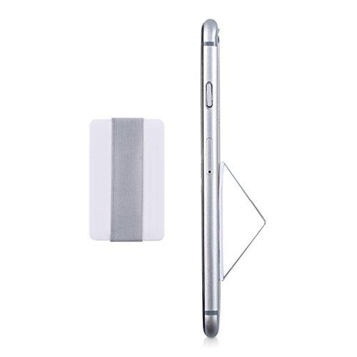 kwmobile Slim Smartphone Fingerhalter Griff Halter - Selbstklebende Handy Fingerhalterung Finger Halter kompatibel mit iPhone Samsung Sony Handys Weiß