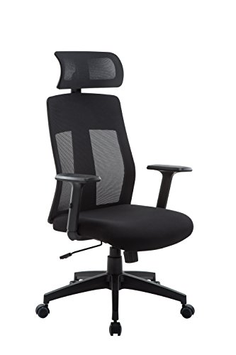 Office Factor Executive Office Chair with Adjustable Tilt Tension Mechanism and High Mesh Back with Head Rest, Ergonomic Computer and Task Chair for Home and Office