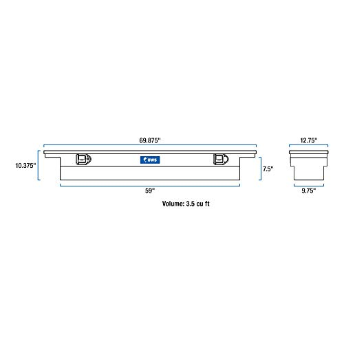 UWS EC10541 69-Inch Heavy-Wall Aluminum Slim Truck Tool Box with Low Profile, RigidCore Lid