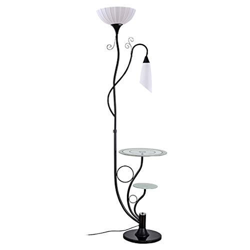 ZXC staande lamp slaapkamer werkkamer woonkamer ijzeren basisglazen tafel oogbescherming staande lamp familie verlichting leeslamp, zwart