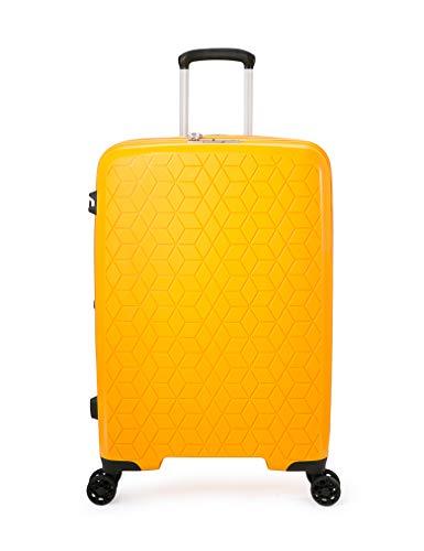 ABISTAB Verage Diamond 4-Zwillingsrollen-Koffer, TSA-Schloss, erweiterbar, PP Hartschale mittelgroßer Rollkoffer M-69cm 25 Zoll, Gelb