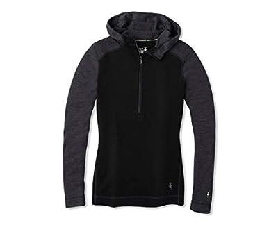 Smartwool Women's Base Layer Top - Merino 250 Wool Active 1/2 Zip Hoodie Black Small