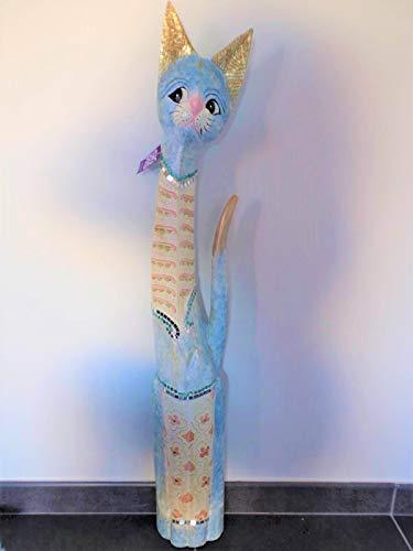 Signes Grimalt - Figura Decorativa de Gato de Madera, Color Azul y Dorado