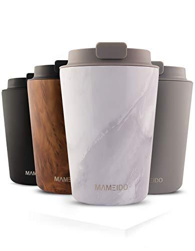 MAMEIDO Thermobecher 350ml White Marble - Kaffeebecher aus Edelstahl doppelwandig isoliert, auslaufsicher - Coffee to go Becher für Kaffee & Tee