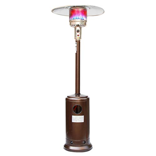 FLAMY Commercial Patio Outdoor Heater,Freestanding Gas Outdoor Garden Commercial Gas Patio Heater 13KW,Golden,Silver,Stainless Steel
