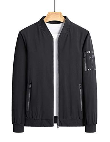 Litteking Men's Lightweight Bomber Jacket Casual Softshell Coat Zipper Sportwear Windbreaker Flight Jacket Black XL