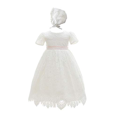Leideur Vestidos de Bautizo Niñas Largas Blancas Vestidos para Ocasiones Especiales Cumpleaños (12 Meses, Blanca)