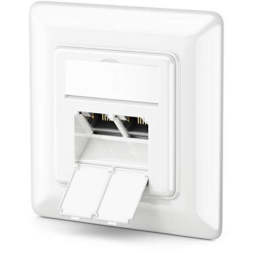 deleyCON 1x CAT6a Netzwerkdose 2X RJ45 Buchse Geschirmt Unterputz Montage 10 Gbit Ethernet Netzwerk LAN Dose Patchkabel Netzwerkkabel Verlegekabel Weiß