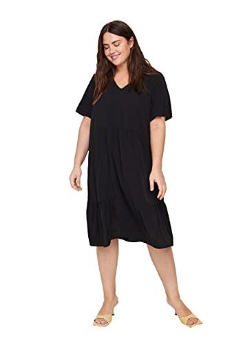 Zizzi Damen Große Größen Kurzarm Kleid mit Print und V Ausschnitt Gr 42-56