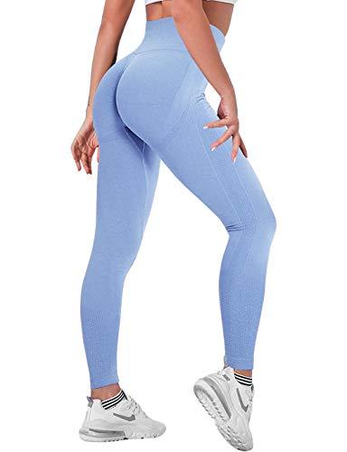 SHAPERIN Scrunch Butt Leggings para mujer, deportivos, push-up, pantalones de yoga, cintura alta, de compresión, opacos, pantalones de deporte para entrenamiento, fitness #4Blue S