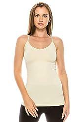 Kurve Women's Camisole Tank Top - Basic Seamless Stretch Spaghetti Strap Cami, UV Protective Fabric UPF 50+ (Made in USA)