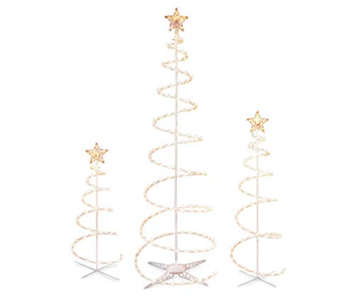 Set of 3 Lighted Spiral Christmas Trees - 3 Ft 4 Ft and 6 Ft - 270 Clear Lights - Winter Wonder Lane