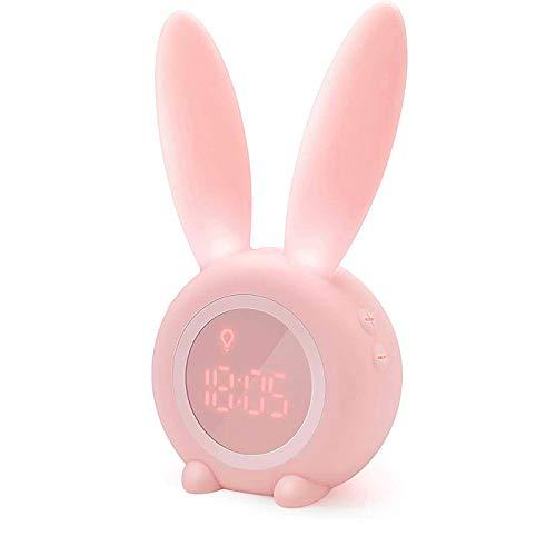 Reloj Despertador de Conejo,Despertador digital LED con control por voz y luz nocturna respirable,Conejito Animal Lindo mesita de Noche con lámpara de luz Nocturna,función Snooze,6 música Interesante