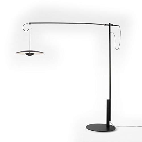 Lámpara de pie LED 13W con difusor de Madera prensado dimable, Modelo Ginger XL42, Color wengé, 50 x 172 x 187 centímetros (Referencia: A662-071)