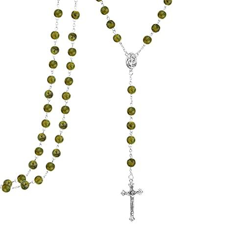 Kkoqmw Rosario católico de Cadena Larga, Centro de la Virgen María, Collares Pendientes