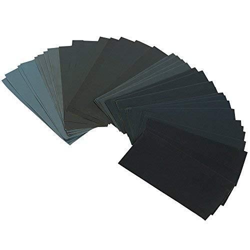 Gimars schleifpapier 36 PCS,400 to 3000 Körnung schmirgelpapier,Trocken / Nass Sandpapier 9 x 3,6 Zoll für Automobil Schleifen, Holzmöbellackierung, Veredelung, Holzverarbeitung